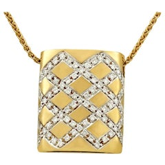 Vintage 1980s Belgian Diamond Yellow Gold and White Gold Set Pendant