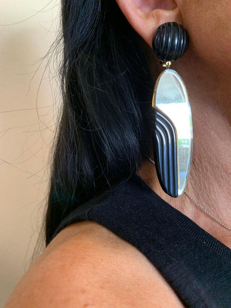 Women's Vintage 1980s Black Bronze Oversized Statement Earrings  For Sale