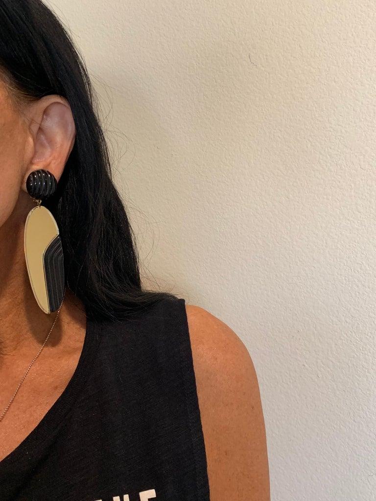 Vintage 1980s Black Bronze Oversized Statement Earrings  For Sale 1
