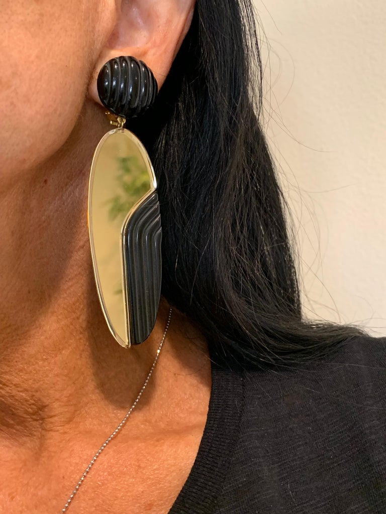 Vintage 1980s Black Bronze Oversized Statement Earrings  For Sale 2