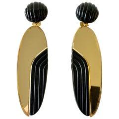 Vintage 1980s Black Bronze Oversized Statement Earrings