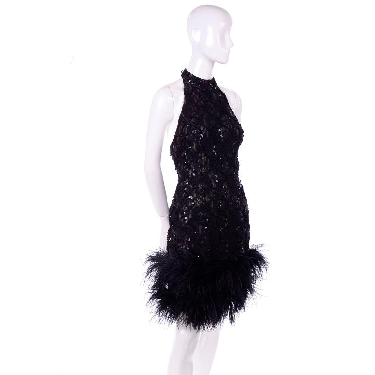 Vintage 1980s Black Lace Sequin Halter Evening Dress w Feathers and Open Back In Excellent Condition For Sale In Portland, OR