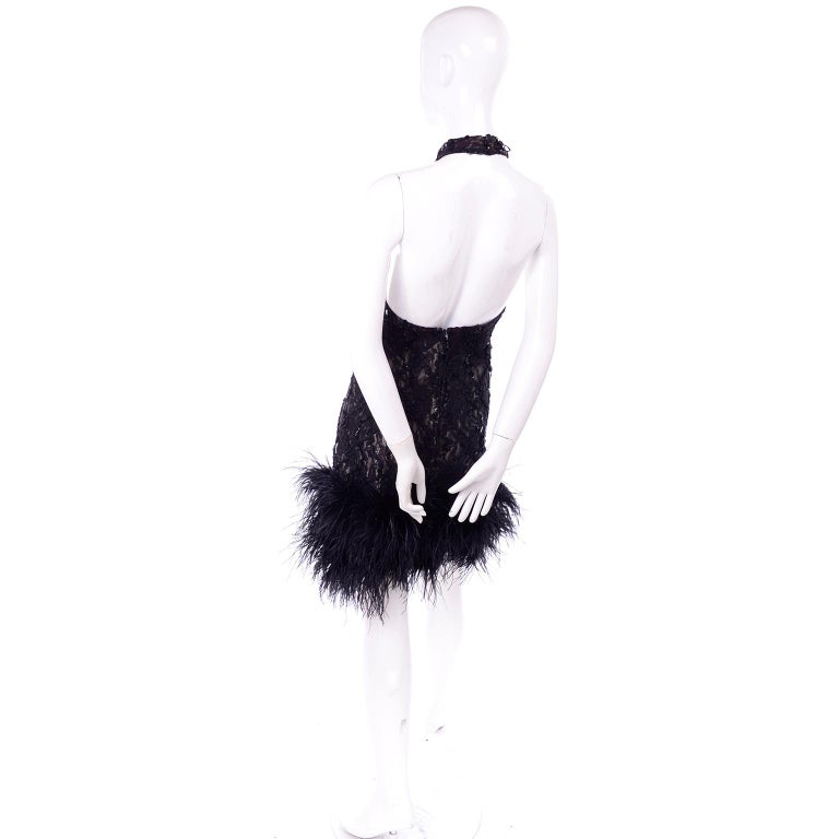 Women's Vintage 1980s Black Lace Sequin Halter Evening Dress w Feathers and Open Back For Sale
