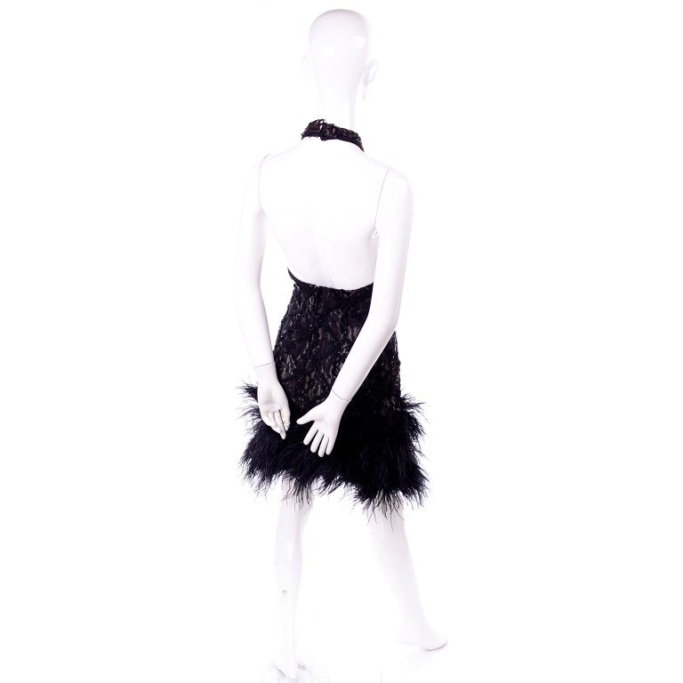 Vintage 1980s Black Lace Sequin Halter Evening Dress w Feathers and Open Back For Sale 1