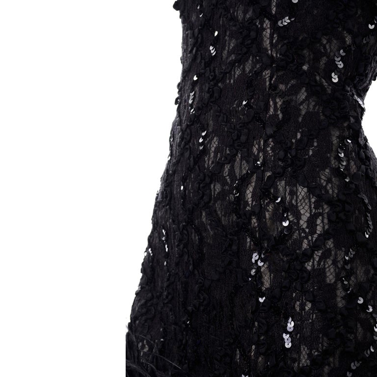 Vintage 1980s Black Lace Sequin Halter Evening Dress w Feathers and Open Back For Sale 4