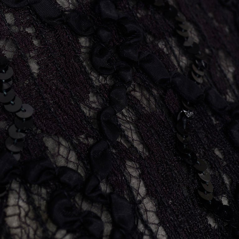 Vintage 1980s Black Lace Sequin Halter Evening Dress w Feathers and Open Back For Sale 5