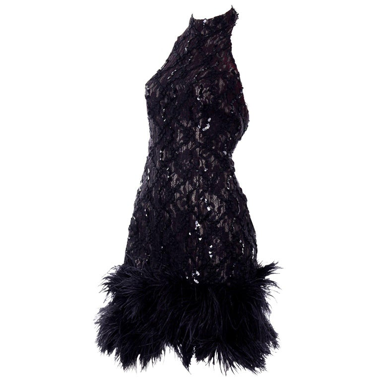 Vintage 1980s Black Lace Sequin Halter Evening Dress w Feathers and Open Back For Sale