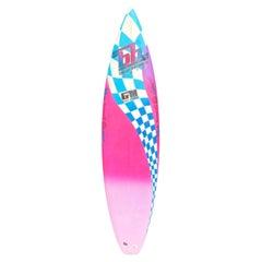 Vintage 1980s Blue Hawaii Surfboard by Glenn Minami