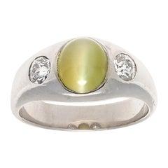 Vintage 1980s Cat's Eye Chrysoberyl Old European Cut Diamond 18k White Gold Ring