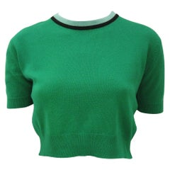 Vintage 1980s Chanel Cropped Green Short Sleeve Sweater