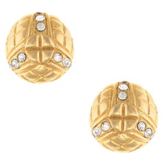 Vintage 1980s Chanel Earrings Round Clip On Crystal Yellow Gold Tone Quilt