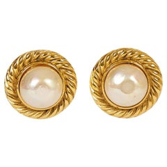 Vintage 1980's Chanel  Pearl Round Clip Earrings