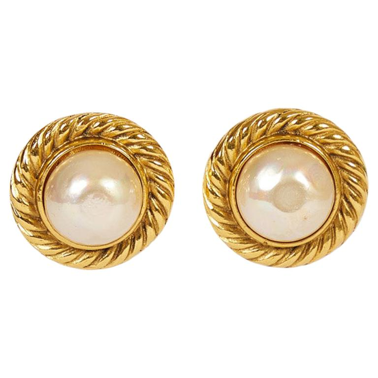Vintage 1980's Chanel  Pearl Round Clip Earrings For Sale