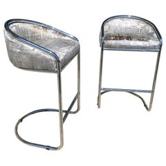 Vintage 1980s Chrome Bar Stools by Anton Lorenz for Thonet