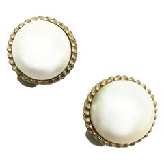 Vintage 1980'S Ciner Pearl Faux Mabe Clip Earrings