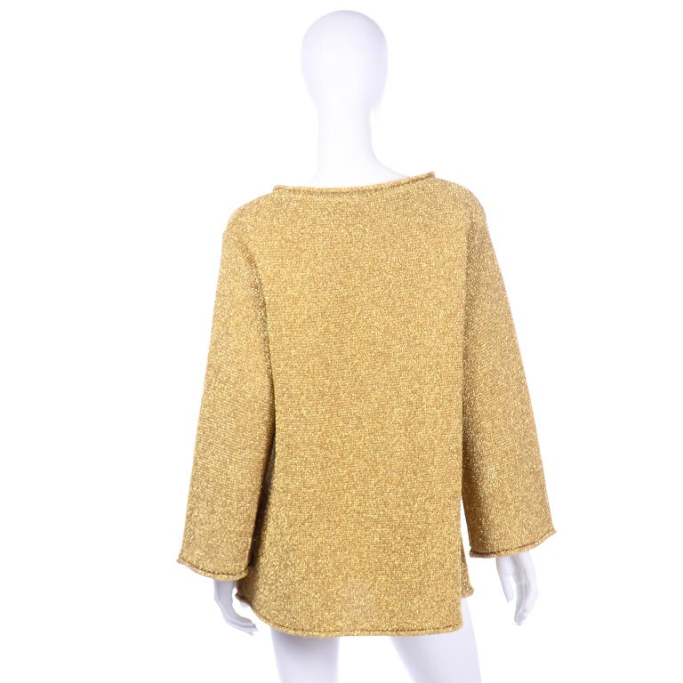 Brown Vintage 1980s Claude Montana Gold Shimmer Pullover Sweater Top  For Sale
