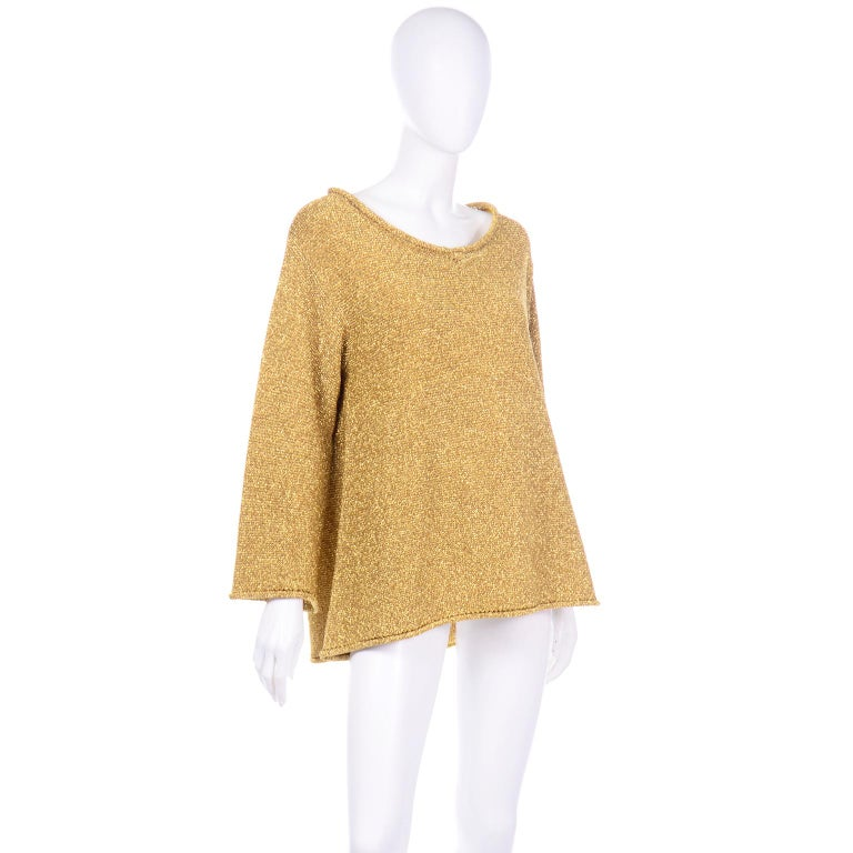 Vintage 1980s Claude Montana Gold Shimmer Pullover Sweater Top  In Excellent Condition For Sale In Portland, OR