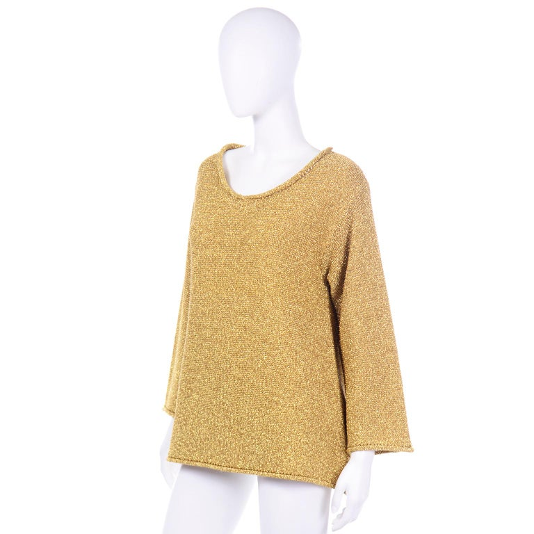 Women's Vintage 1980s Claude Montana Gold Shimmer Pullover Sweater Top  For Sale