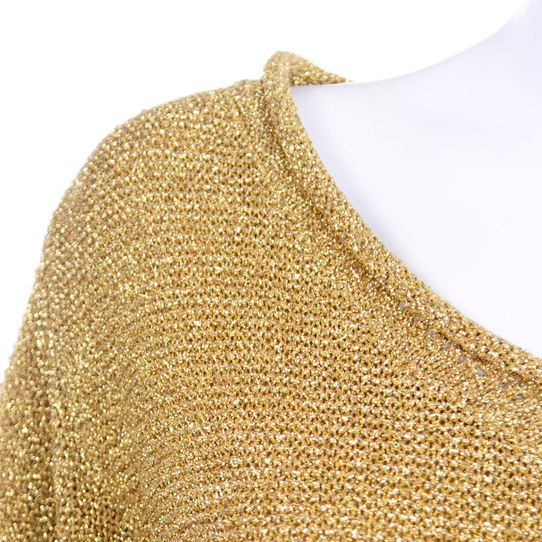 Vintage 1980s Claude Montana Gold Shimmer Pullover Sweater Top  For Sale 2