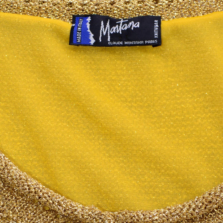 Vintage 1980s Claude Montana Gold Shimmer Pullover Sweater Top  For Sale 3