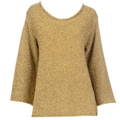 Vintage 1980s Claude Montana Gold Shimmer Pullover Sweater Top