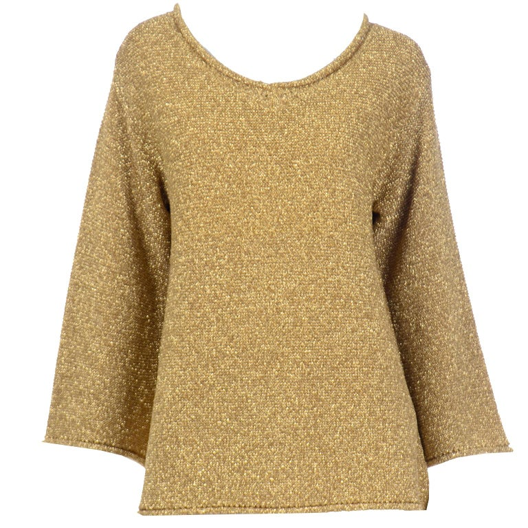 Vintage 1980s Claude Montana Gold Shimmer Pullover Sweater Top  For Sale