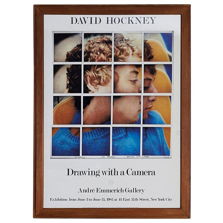 """Vintage 1980s David Hockney Exhibition Poster """"Drawing With A Camera"""" For Sale"""
