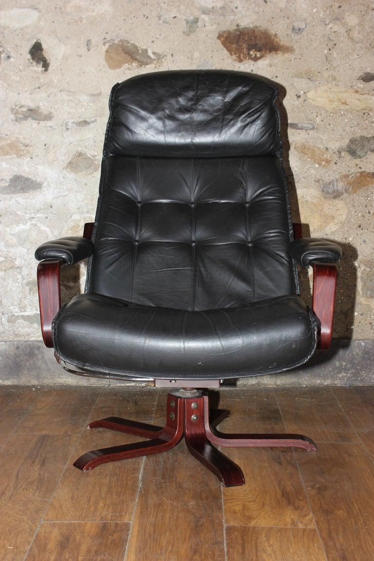 Vintage 1980s Designer Danish Leather And Rosewood Swivel