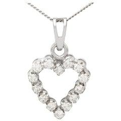 Vintage 1980s Diamond and White Gold Heart Pendant