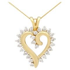 Vintage 1980s Diamond and Yellow Gold Heart Pendant