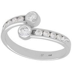 Vintage 1980s Diamond White Gold Twist Ring