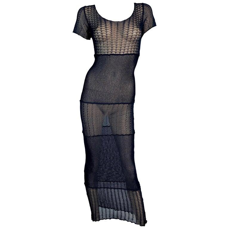 Vintage 1980's Dolce & Gabbana Sheer Blue Knit Long Wiggle Dress For Sale