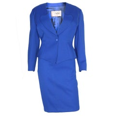 Vintage 1980s Electric Blue Suit jacket and skirt by Thierry Mugler