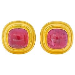 Vintage 1980s Elizabeth Locke Pink Tourmaline 19 Karat Gold Ear-Clip Earrings