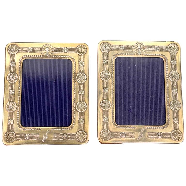 Vintage 1980's Erté Sterling Silver and Wood Frames, Set of 2 For Sale