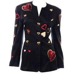 Vintage 1980s Escada Margaretha Ley Red Sequin Hearts Black Blazer Jacket