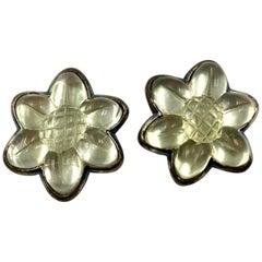 Vintage 1980s Escada Poured Resin Blackened Silver Metal Flower Earrings