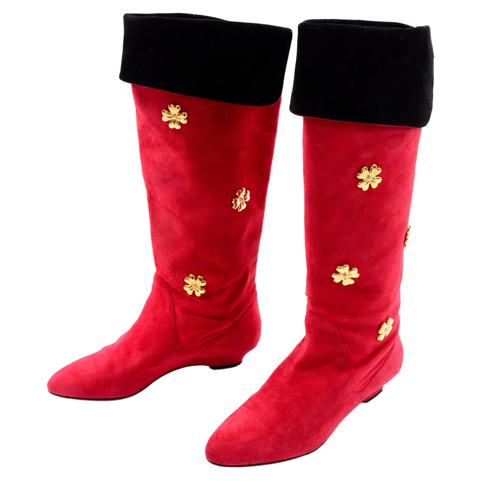 Vintage 1980s Escada Red Suede Boots With Gold Metal Clovers Size 37