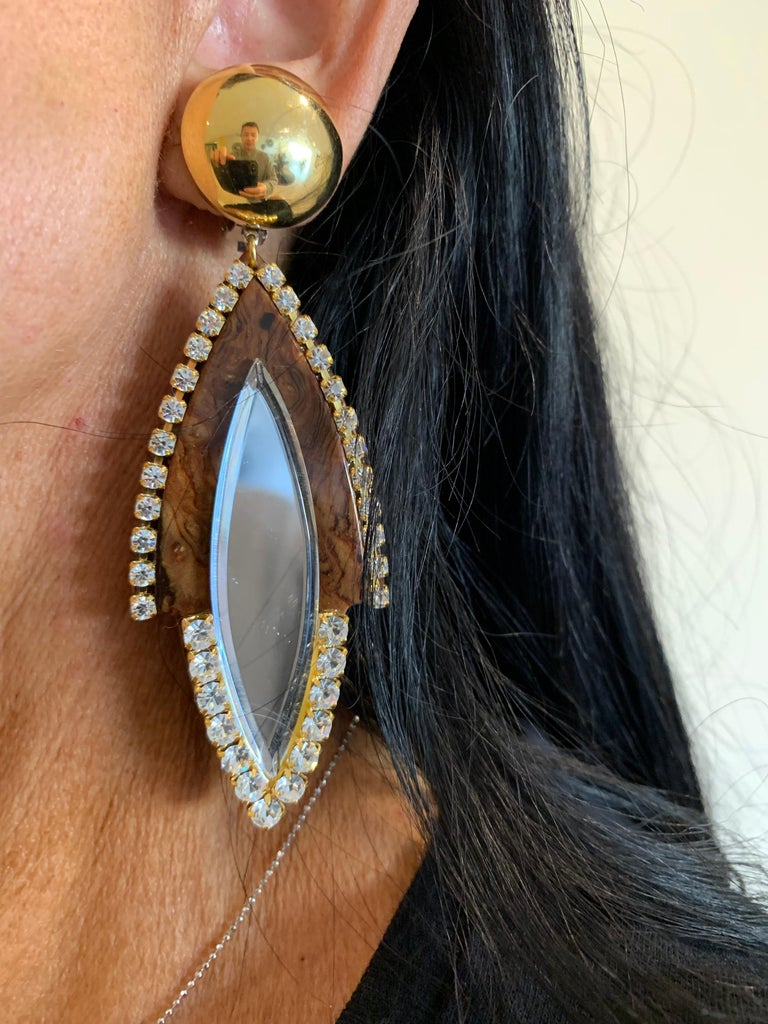 Vintage 1980s Faux Tortoise Diamanté Statement Earrings  In Excellent Condition For Sale In Palm Springs, CA