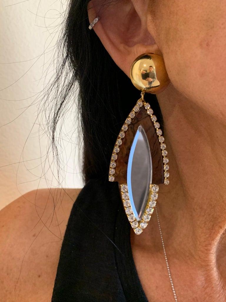 Vintage 1980s Faux Tortoise Diamanté Statement Earrings  For Sale 2