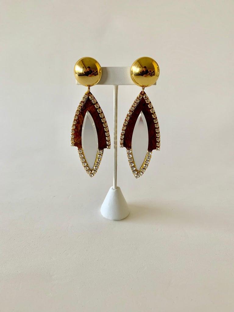 Vintage 1980s Faux Tortoise Diamanté Statement Earrings  For Sale 3