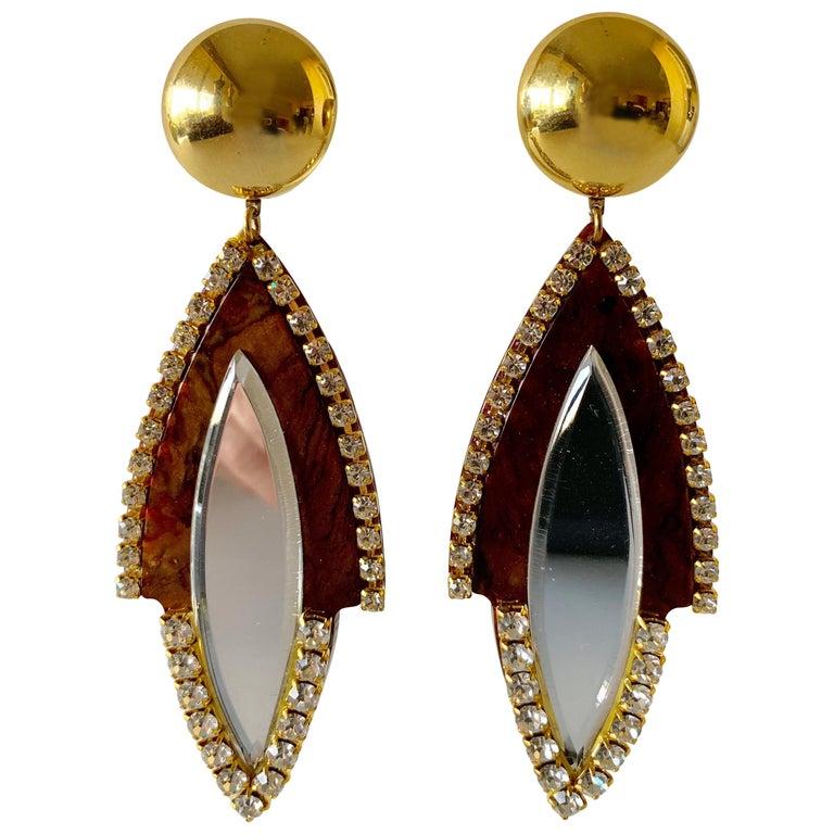 Vintage 1980s Faux Tortoise Diamanté Statement Earrings  For Sale