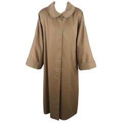 Vintage 1980's FENDI Size L Olive Round Collar Oversized Over Coat
