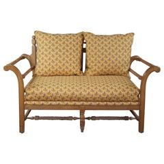 Vintage 1980s Flair Furniture Pine Settee Love Seat Bench Pierre Deux