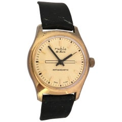 Vintage 1980s Gold-Plated and Stainless Steel Back Mechanical Watch