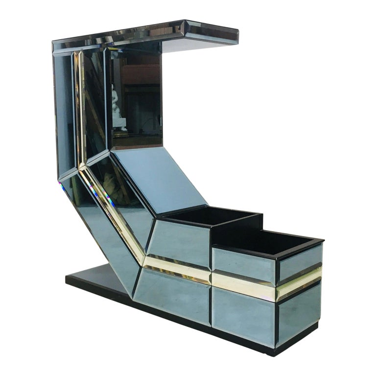 Vintage 1980s Italian Colored Glass Console Table