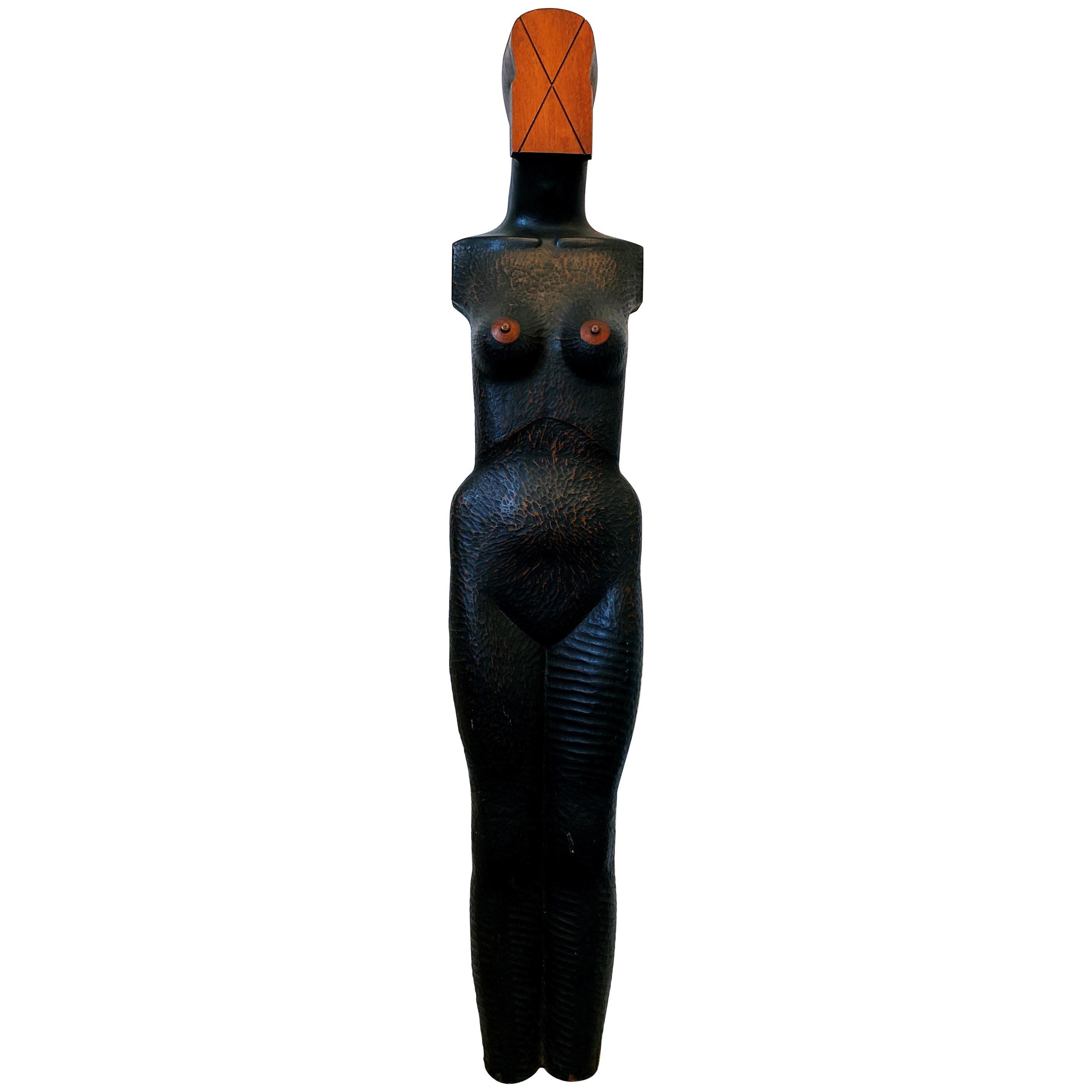 Vintage 1980s Jim Pruitt Hand Carved Mahogany Female Figurative Large Sculpture