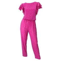 Vintage 1980s Jody T Hot Pink Flower Print Ruffle Straight Leg 80s Jumpsuit