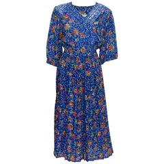 Vintage 1980s Kanga Collection Blue Floral Dress