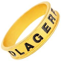 """Vintage 1980s Karl Lagerfeld Gilt & Enamel """"LAGERFELD"""" Skinny Bangle Bracelet"""